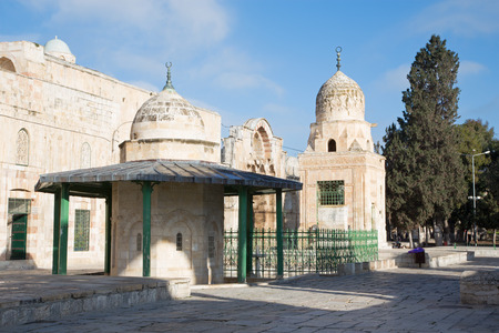 temple mount: JERUSALEM, ISRAEL - MARCH 5, 2015: The west part of Temple Mount with the Qubbet Musa and Qaitbay Well.