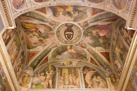 trinita: ROME, ITALY - MARCH 25, 2015: The frescoes The Four Evangelists in the side chapel by Paolo Cespedes and Cesare Arbasia from 16. cent. in church Chiesa della Trinita dei Monti. Editorial