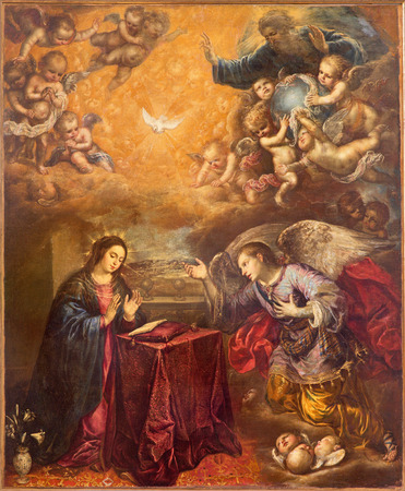 anton: GRANADA, SPAIN - MAY 29, 2015: The baroque paint of Annunication in Iglesia de San Anton by unknown artist.