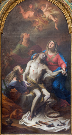 trinita: ROME, ITALY - MARCH 25, 2015: The painting of Pieta in church Chiesa della Santissima Trinita degli Spanoli by Casali (1777). Editorial