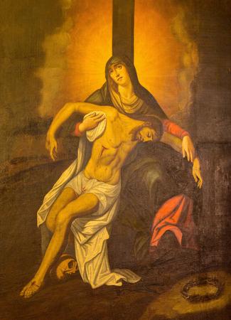 mary mother of jesus: GRANADA, SPAIN - MAY 29, 2015: The paint of Pieta (Depostion) in side chapel of church Iglesia de los santos Justo y Pastor by Ruiz del Peral (1708 - 1773). Editorial