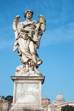 guar: ROME, ITALY - MARCH 27, 2015: Angel with the whips - Ponte SantAngelo - Angels bridge - designed by Lazzaro Morelli