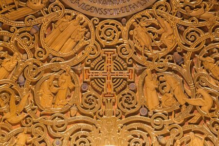 testament: JERUSALEM, ISRAEL - MARCH 3, 2015: The relief of Jerusalem cross and Old Testament Scenes in Dormition abbey in apse of side chapel in upper church.