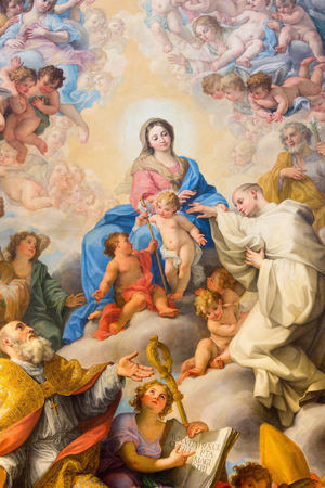 ROME, ITALY - MARCH 25, 2015: Painting of The Mystic Marriage of St Robert to Our Lady by Giovanni Odazzi (1663 - 1731) in church Chiesa di San Bernardo alle Terme.