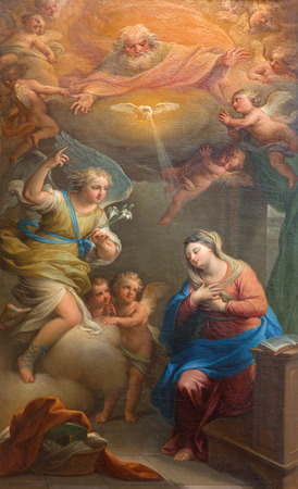 trinita: ROME, ITALY - MARCH 25, 2015: The Annunciation paint by Andrea Casali (1781)  in church Chiesa della Santissima Trinita degli Spanoli. Editorial