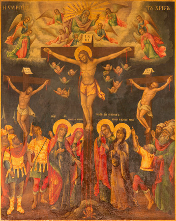 sepulchre: JERUSALEM, ISRAEL - MARCH 3, 2015: The icon of Crucifixion in Church of Holy Sepulchre by unknown artist. Editorial