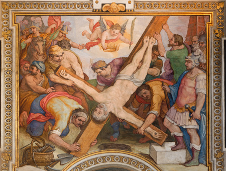 ROME, ITALY - MARCH 26, 2015: The Crucifixion of st. Peter fresco by G. B. Ricci from 16. cent. in church Chiesa di Santa Maria in Transpontina and chapel of st. Peter and Paul.
