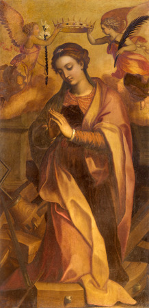katherine: ROME, ITALY - MARCH 26, 2015: The painting of st. Katherine in chapel of st. Katherine of Alexandria by Marcello Venusti (1550 - 1560) in Basilica di Sant Agostino (Augustine).
