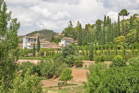 outlook: Granada - The outlook from the Alhambra to Generalife gardens ana palace.