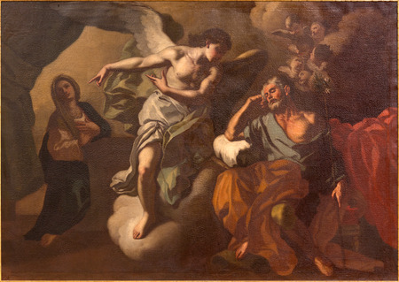 dream land: JERUSALEM, ISRAEL - MARCH 5 , 2015: The Apparition of angel to St. Joseph in the dream paint in St. Ann church by unknown artist. Editorial