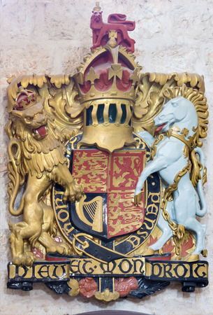 JERUSALEM, ISRAEL - MARCH 5, 2015: The relief of England royal arms in St. George anglicans church from year 1948.