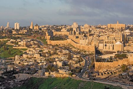 mount of olives: Jerusalem - Outlook from Mount of Olives to Dormition abbey and south part of town walls in morning light