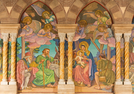chiesa: ROME, ITALY - MARCH 24, 2015: The detail of mosaic of Three Magi by Edward Burne-Jones (1833 - 1898) in anglicans church Chiesa di San Paolo dentro le Mura. Editorial