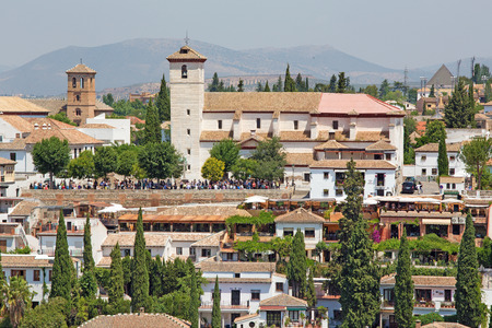 saint nicholas: Granada - The look to the Saint Nicholas church from Alhambra fortress.