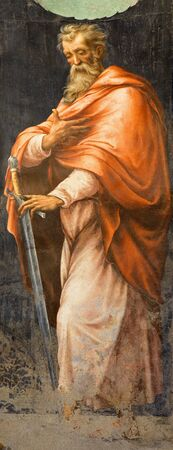 apostle paul: ROME, ITALY - MARCH 25, 2015: The fresco of St. Paul the Apostle from the side chapel of Nativity in church Chiesa della Trinita dei Monti from 16. cent. probably  by Pietro Negroni (1505 - 1565).