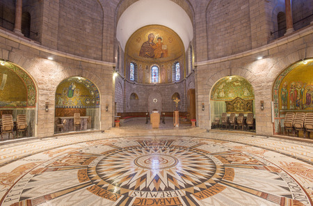 nave: JERUSALEM, ISRAEL - MARCH 3, 2015: The main nave of The Dormition abbey with the mosaic floor designed and carried by Mauritius Gisler (1932). Editorial