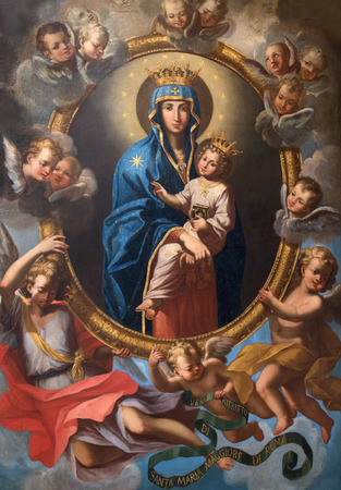 ROME, ITALY - MARCH 25, 2015: The Madonna among the angels in side chapel of church Chiesa San Marcello al Corso by Agostino Masucci (1727). Editorial
