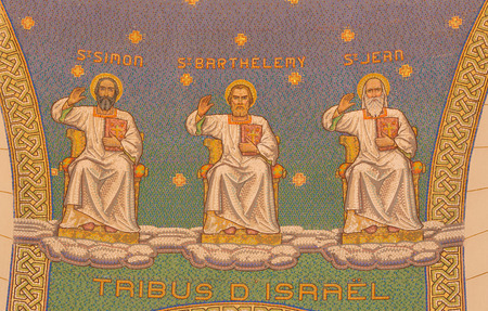 JERUSALEM, ISRAEL - MARCH 3, 2015: The mosaic of apostles in Church of St. Peter in Gallicantu. Editorial