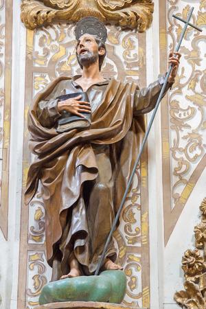 apostle: GRANADA, SPAIN - MAY 29, 2015: The carved statue of Saint Philip the apostle in church Nuestra Senora de las Angustias by Pedro Duque Cornejo (1718). Editorial