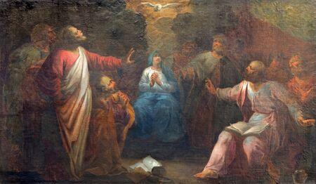 BRUGES, BELGIUM - JUNE 12, 2014: The Pentecost paint by J. Garemijn (1750) as the part of 14 paintings of the mysteries of Rosary in Saint Walburga church.