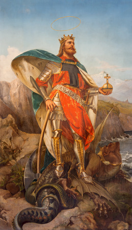 pius: ROME, ITALY - MARCH 25, 2015: The painting of St. Olav the king of Norway by Pius Adamowitsch Welonsky (1893) on side altar of church Basilica dei Santi Ambrogio e Carlo al Corso.