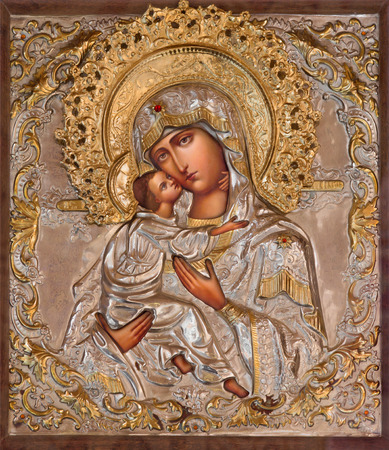 Mother Mary: JERUSALEM, ISRAEL - MARCH 5, 2015: The icon of Madonna in Russian orthodox Church of Holy Mary of Magdalene by unknown artist on the Mount of Olives.