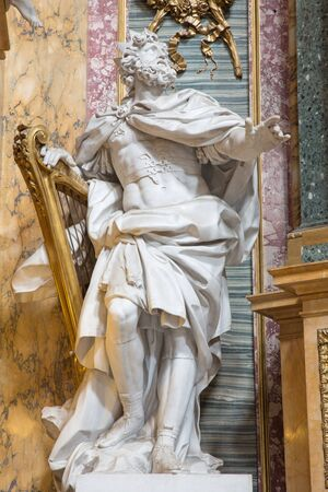 jewry: ROME, ITALY - MARCH 25, 2015: The statue of The King David by Andre Jean Lebrun (1769) from side chapel of Immaculate Comception in baroque church Basilica dei Santi Ambrogio e Carlo al Corso.