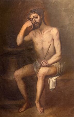 torture: GRANADA, SPAIN - MAY 30, 2015: The tortured Jesus Christ painting in church Iglesia del Sagrario by unknown artist.