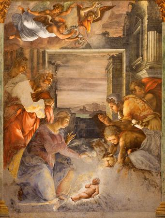 nascita di gesu: ROMA, ITALIA - 25 MARZO 2015: L'affresco Nativit� a cappella laterale della chiesa Chiesa della Trinit� dei Monti, da artista ignoto da met� 16. sec.