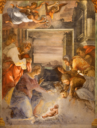 trinita: ROME, ITALY - MARCH 25, 2015: The Nativity fresco in side chapel of church Chiesa della Trinita dei Monti by unknown artist from middle of 16. cent.