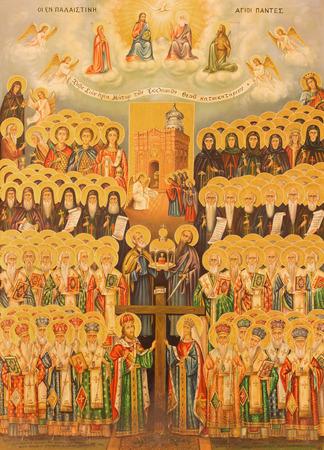 heaven: JERUSAL�N, ISRAEL - 03 de marzo 2015: El icono de la Jerarqu�a del Cielo en Iglesia del Santo Sepulcro por el artista desconocido del a�o 1.982.