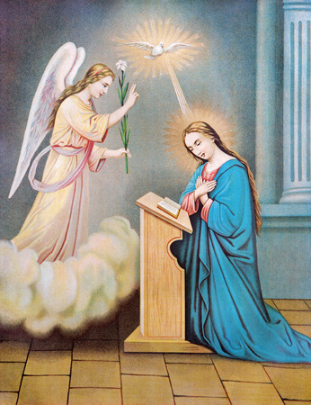 SEBECHLEBY, SLOVAKIA - JULY 27, 2015: Typical catholic image of The Annunciation from Slovakia from the end of 19. cent. originally by unknown artist.