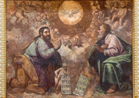church architecture: CORDOBA, SPAIN - MAY 27, 2015: The renaissance fresco of Holy Trinity in church Iglesia de San Lorenzo from 15. cent. by unknown artist