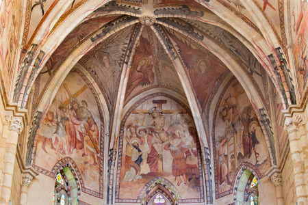 affliction: CORDOBA, SPAIN - MAY 27, 2015: The medieval frescoes of affliction of Christ in main apse of church Iglesia de San Lorenzo from 14. cent. by unknown artist. Editorial