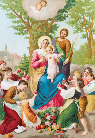 SEBECHLEBY, SLOVAKIA - JULY 27, 2015: The printed traditional cathlic image of Holy Family (1906) in the book