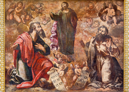 the ascension: CORDOBA, SPAIN - MAY 26, 2015: The fresco of Ascension of the Lord from 17. cent. by Cristobal Vela and Juan Luis Zambrano in church Iglesia de San Augustin..