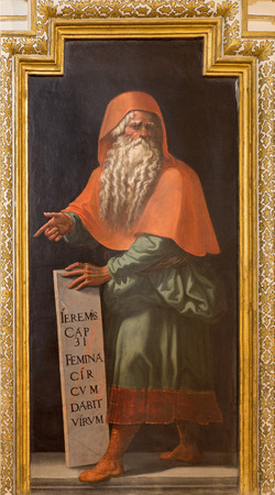 prophet: CORDOBA, SPAIN - MAY 27, 2015: The fresco of prophet Jeremiah in church Iglesia de San Lorenzo from 15. cent. by unknown artist Editorial