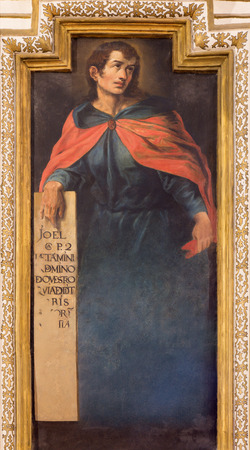 prophet: CORDOBA, SPAIN - MAY 27, 2015: The fresco of prophet Joel from 17. cent. by Cristobal Vela and Juan Luis Zambrano  in church Iglesia de San Augustin.