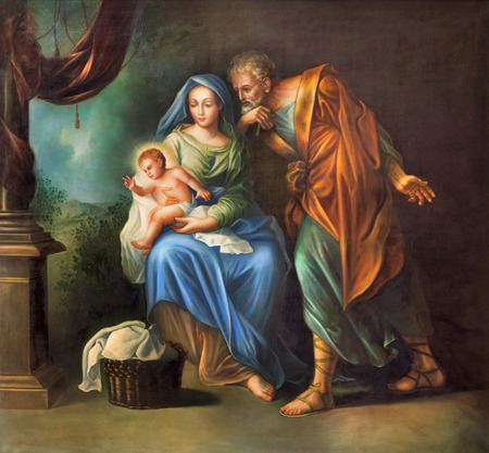 saint: CORDOBA, SPAIN - MAY 27, 2015: The Holy Family painting in church Convento de Capuchinos (Iglesia Santo Anchel) by unknown artis of 18. cent.