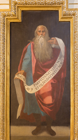 prophet: CORDOBA, SPAIN - MAY 27, 2015: The fresco of prophet Isaiah in church Iglesia de San Lorenzo from 15. cent. by unknown artist Editorial