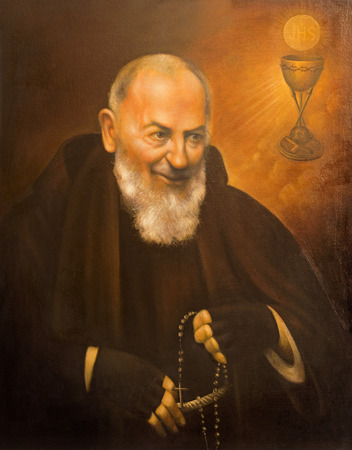 CORDOBA, SPAIN - MAY 27, 2015: The fine art portrait of St. Pater Pio (Father Pio) by unknown artst of 20. cent. in church  Convento de Capuchinos (Iglesia Santo Anchel).