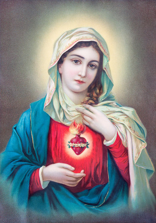 saint: SEBECHLEBY, SLOVAKIA - JULY 27, 2015: Typical catholic image of heart of Virgin Mary from Slovakia printed in Germany from the begin of 20. cent. originally by unknown artist.