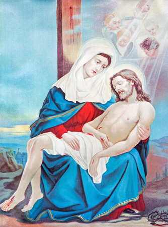 mother god: SEBECHLEBY, SLOVAKIA - JULY 27, 2015: Typical catholic image of Pieta from Slovakia from the end of 19. cent. originally by unknown artist.