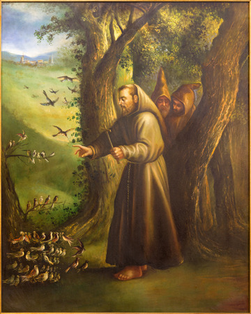 st  francis: CORDOBA, SPAIN - MAY 27, 2015: The modern paint of St. Francis of Assisi Preaching to the birds from 20. cent. in church Convento de Capuchinos (Iglesia Santo Anchel).