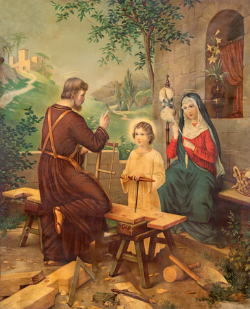 nazareth: SEBECHLEBY, SLOVAKIA - JULY 27, 2015: Typical catholic image printed image of Holy Family from the end of 19. cent. printed in Germany originally by unknown painter.