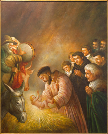 st  francis: CORDOBA, SPAIN - MAY 27, 2015: The modern paint of st. Francis of Assisi in the scene of Nativity by unknown artist of 20. cent. in church Convento de Capuchinos (Iglesia Santo Anchel) Editorial