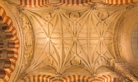 in ceiling: CORDOBA, SPAIN - MAY 28, 2015: The gothic vault of side nave in the Cathedral.