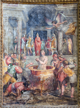 allegedly: ROME, ITALY - MARCH 26, 2015: The fresco of martyrdom of St. John the Evangelist (he was allegedly boiled in oil) in church Chiesa di Santo Spirito in Sassia by Marcelo Venusti (1510 - 1579)