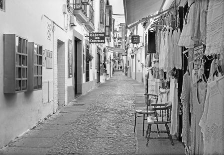 bosco: CORDOBA, SPAIN - MAY 26, 2015: The street Velasques Bosco with the little shops and bars. Editorial