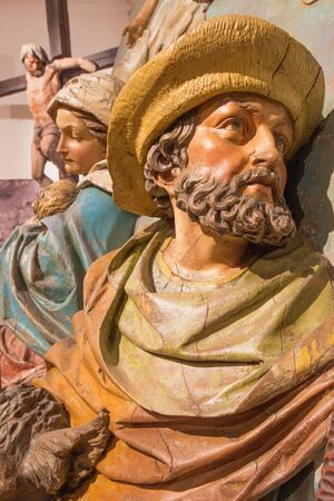 mother god: BANSKA STIAVNICA, SLOVAKIA - FEBRUARY 5, 2015: The detail of carved statue of St. Joseph and Mary as the part of baroque Calvary from years 1744 - 1751.